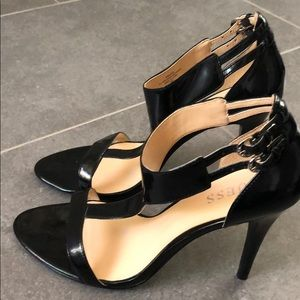 Guess black patent heels